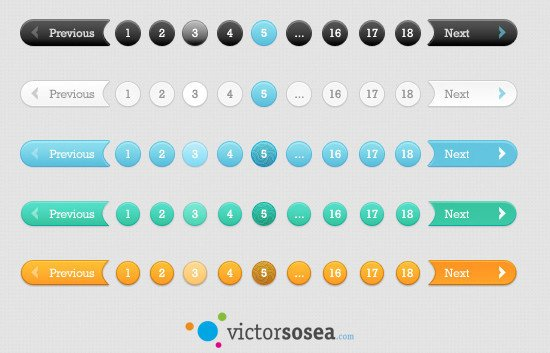 5 Awesome Pagination Styles Free PSD